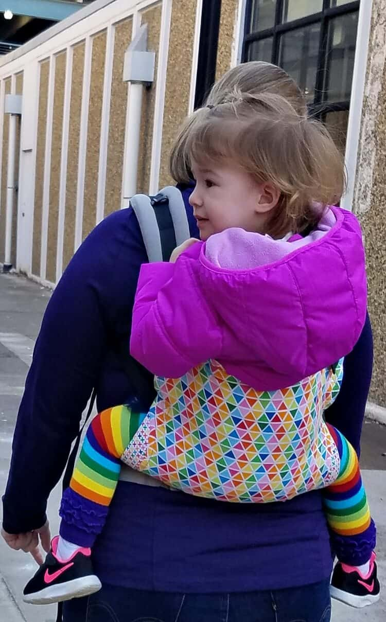 toddler in a tula baby carrier