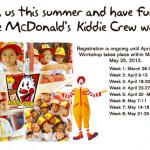 Mc Donalds Kiddie Crew 2012 schedule