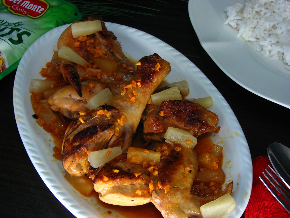 how to cook adobong manok with pineapple