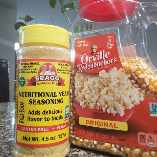 Bragg Nutritional Yeast and Orville Redenbacher's popcorn