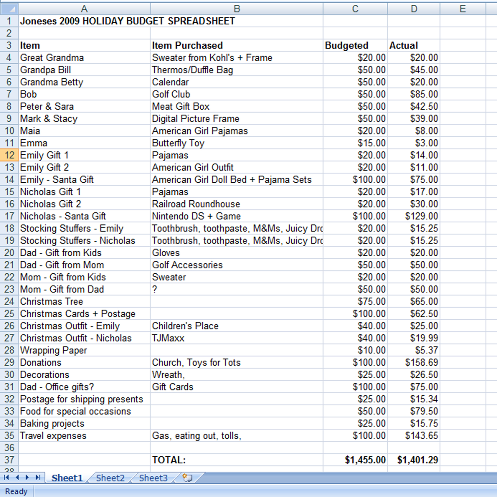 Create A Holiday T Expense Spreadsheet