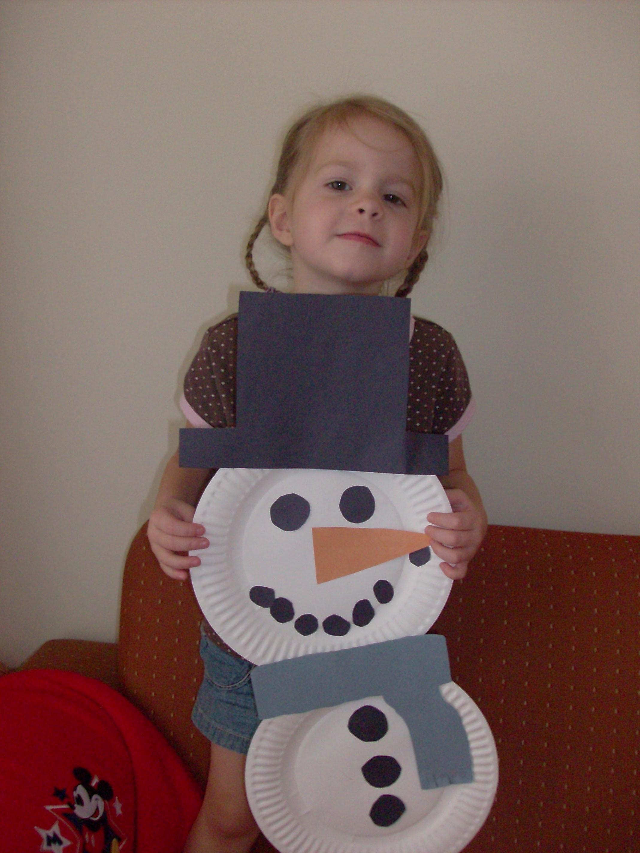Indoor Winter Fun Paper Plate Snowman Kids Craft