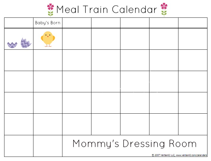 Meal train-postpartum-calendar
