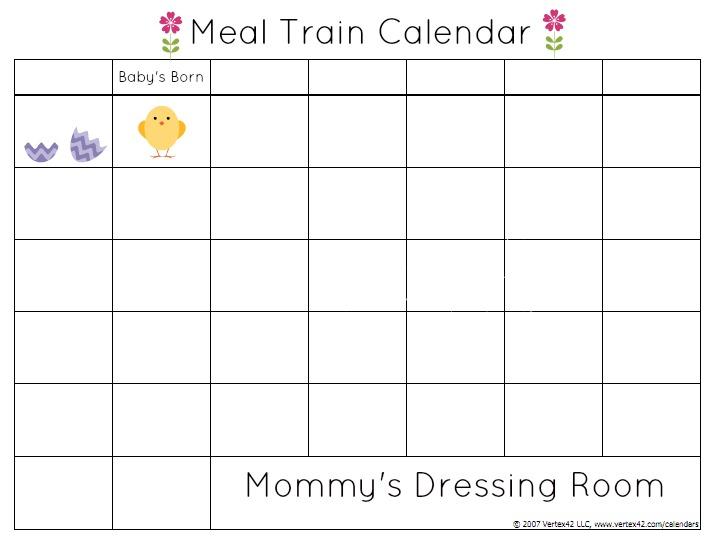 Meal train-postpartum-calendar