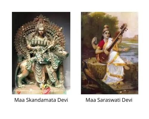 Maa Skandamata Devi and Saraswati Devi images from Wikipedia in the Navaratri Parenting Pebbles post by Mommyshravmusigs
