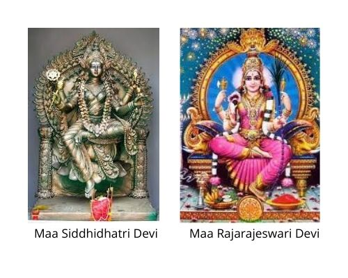 Maa Siddhidhatri Devi and Rajarajeswari Devi images from Wikipedia in Navaratri Parenting Pebbles post by Mommyshravmusings