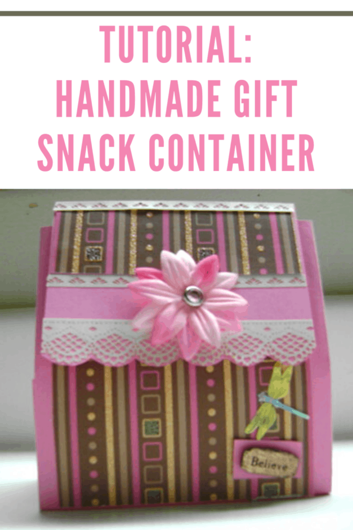 pink striped handmade gift snack container
