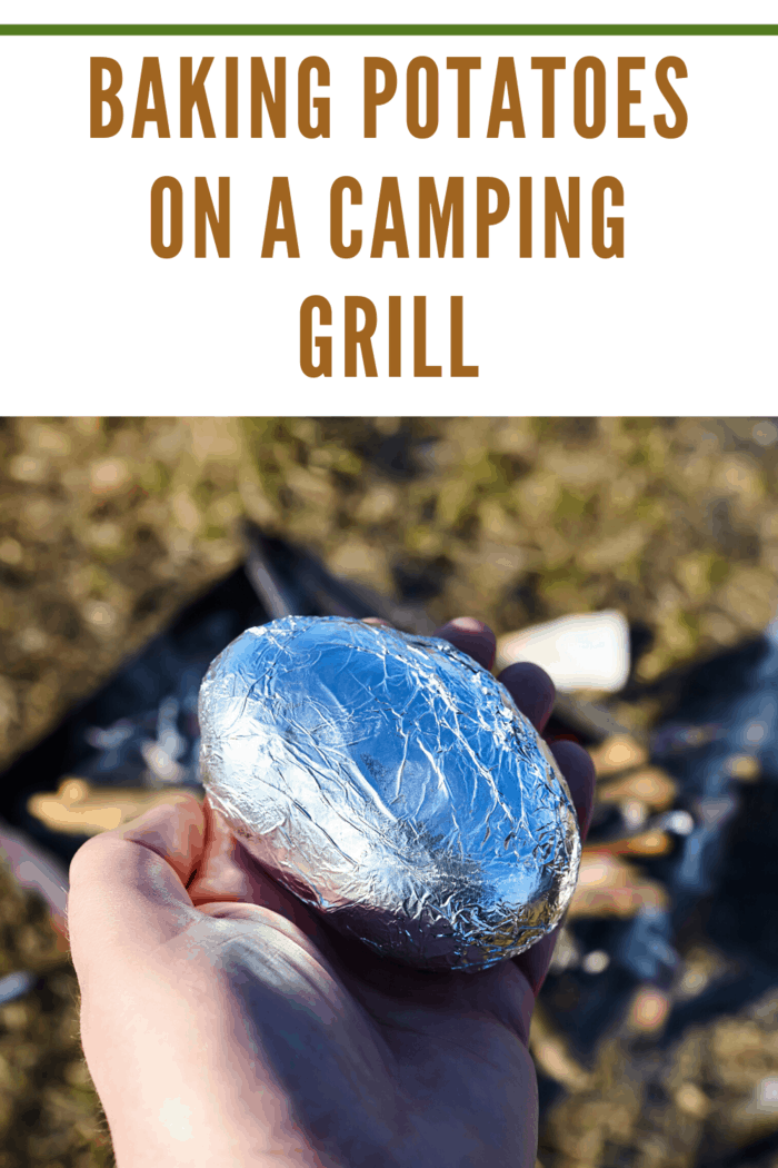 foil wrapped potato ready for camping grill