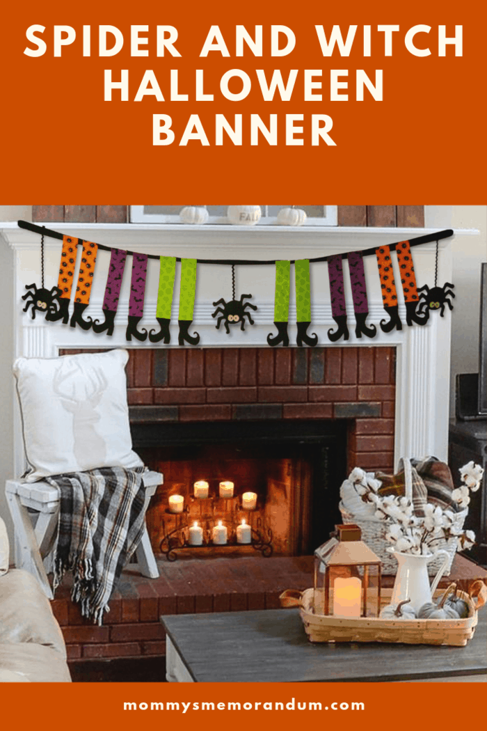 This No-Sew Spider and Witch Halloween Banner Tutorial is easy to put together in a few hours, and a fun addition to Halloween festivities. #halloween #nosew #halloweendecor #halloweencrafts #halloweendecorations
