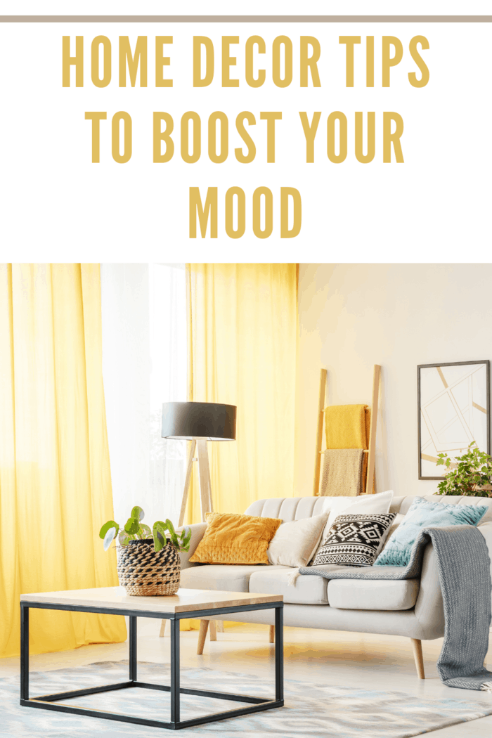 living room with yellow curtains to help  boost your mood.