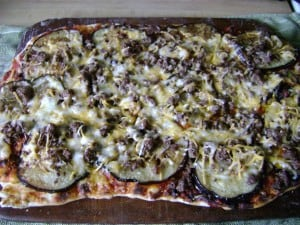 Our Eggplant and Cheese Grilled Pizza