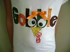 close up of gobble tee shirt