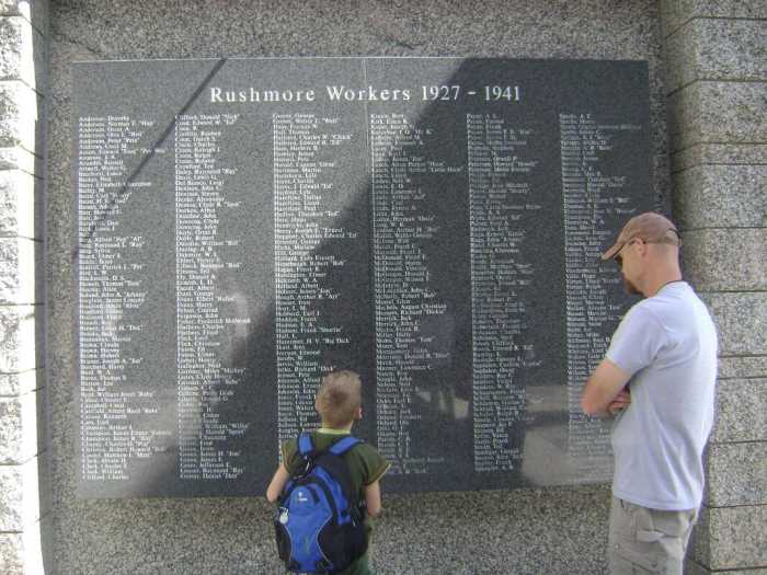 The plaque showing the names of those who worked on Mount Rushmore