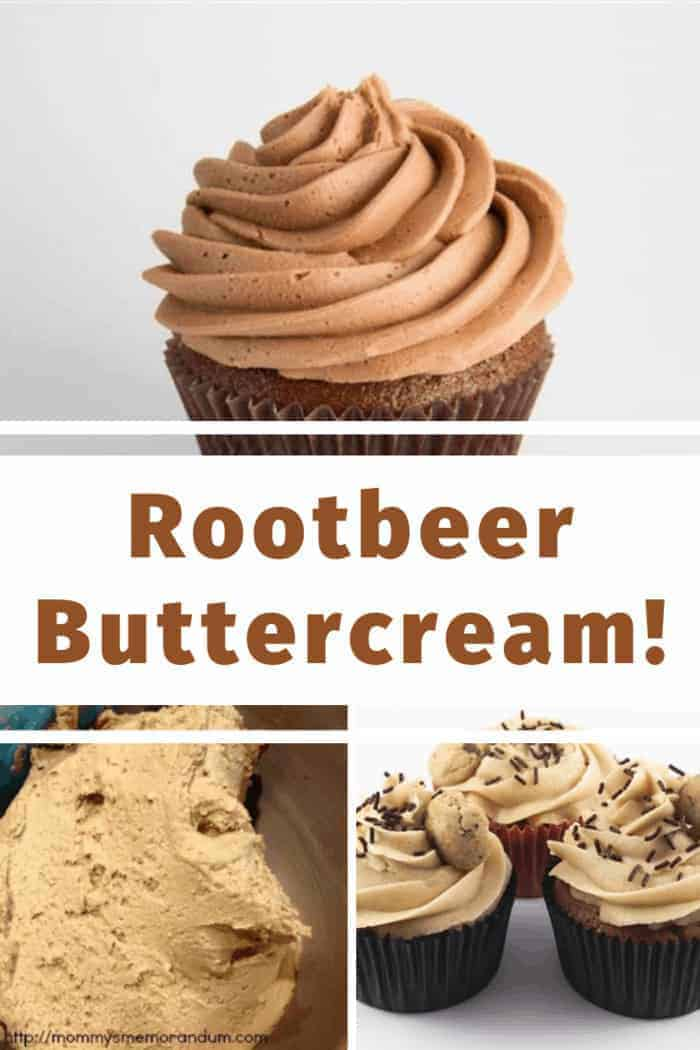 Easy Rootbeer Buttercream Icing recipe, the perfect topping for rootbeer cupcakes or any cake!