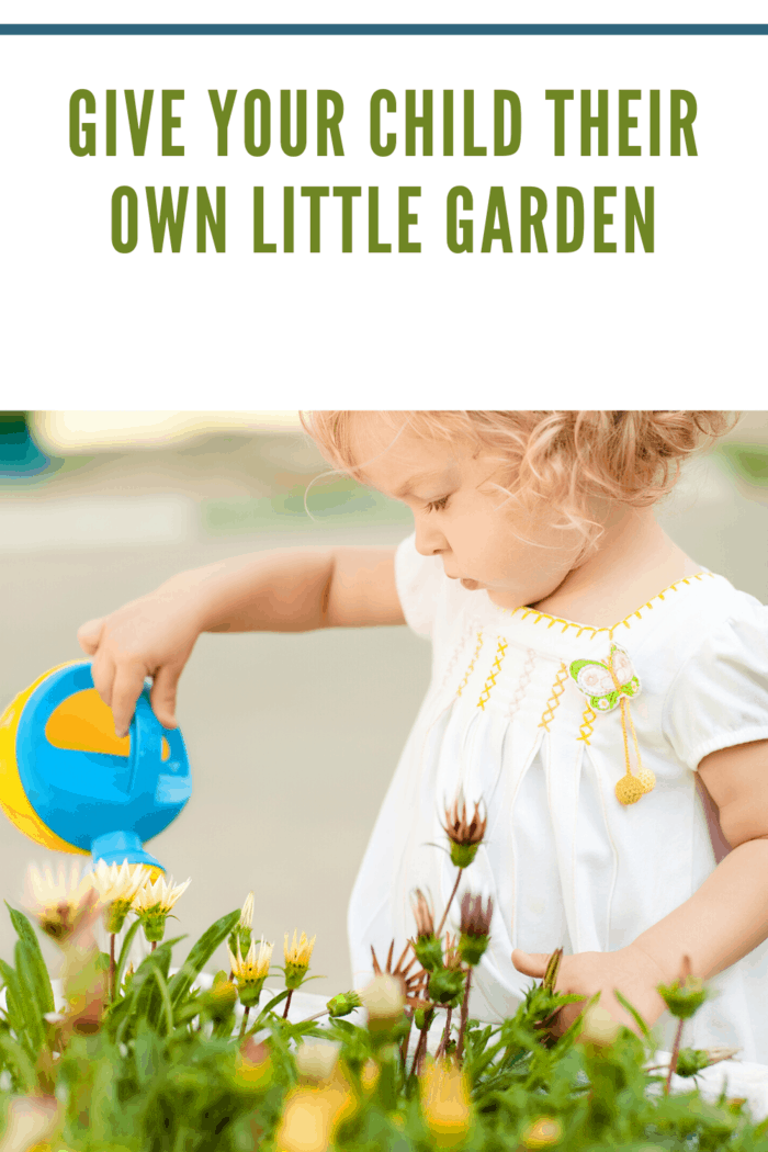 little girl watering flower garden with small blue and yellow watering can