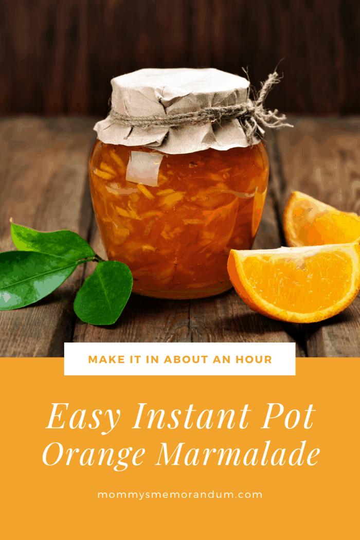 instant pot orange marmalade in jar with twine around lid and orange slices