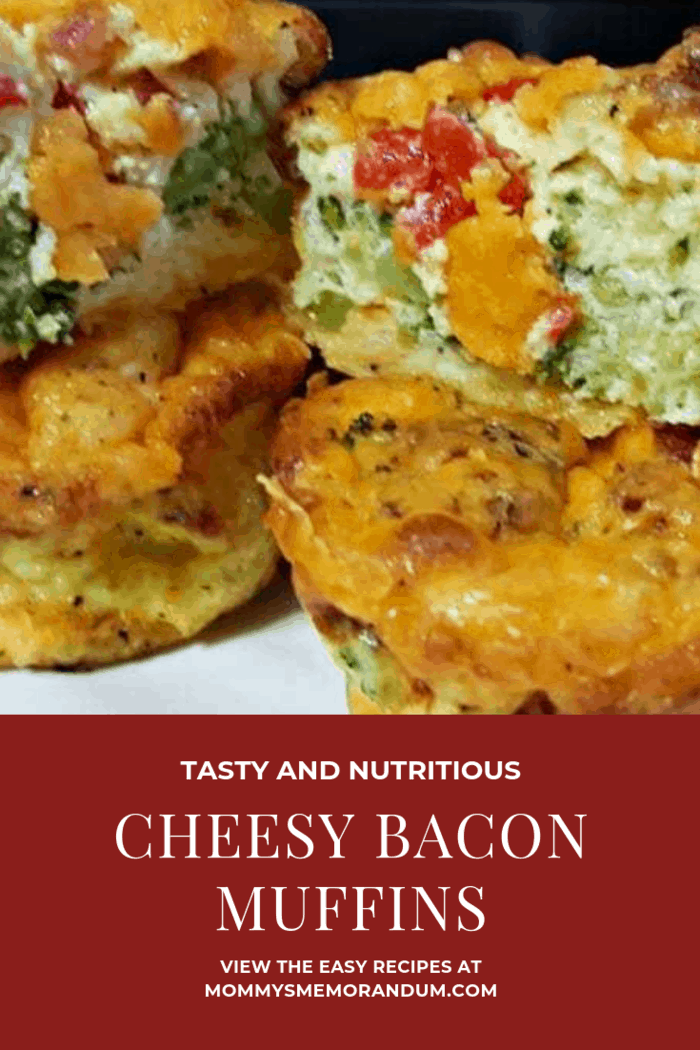 """This Cheesy Breakfast Bacon Muffins recipe is versatile. We call them muffins, but you can make this recipe in an 8""""x8"""" pan and it's a cheesy breakfast bacon frittata, add a crust to the pan before the egg mixture and you have a cheesy breakfast bacon quiche!"""
