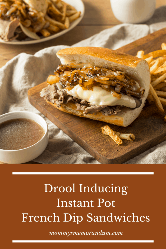 The Best Instant Pot French Dip Sandwiches are waiting. Tender, juicy meat topped with ooey-gooey cheese and nestled inside a toasted grinder. Dip in the homemade au jous for an incredible drool-worthy meal #frenchdip #instantpotfrenchdip #frenchdipsandwiches