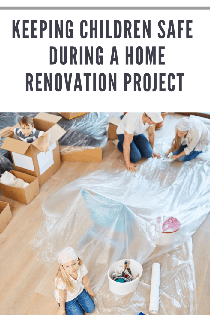 family in home renovation sitting down to talk