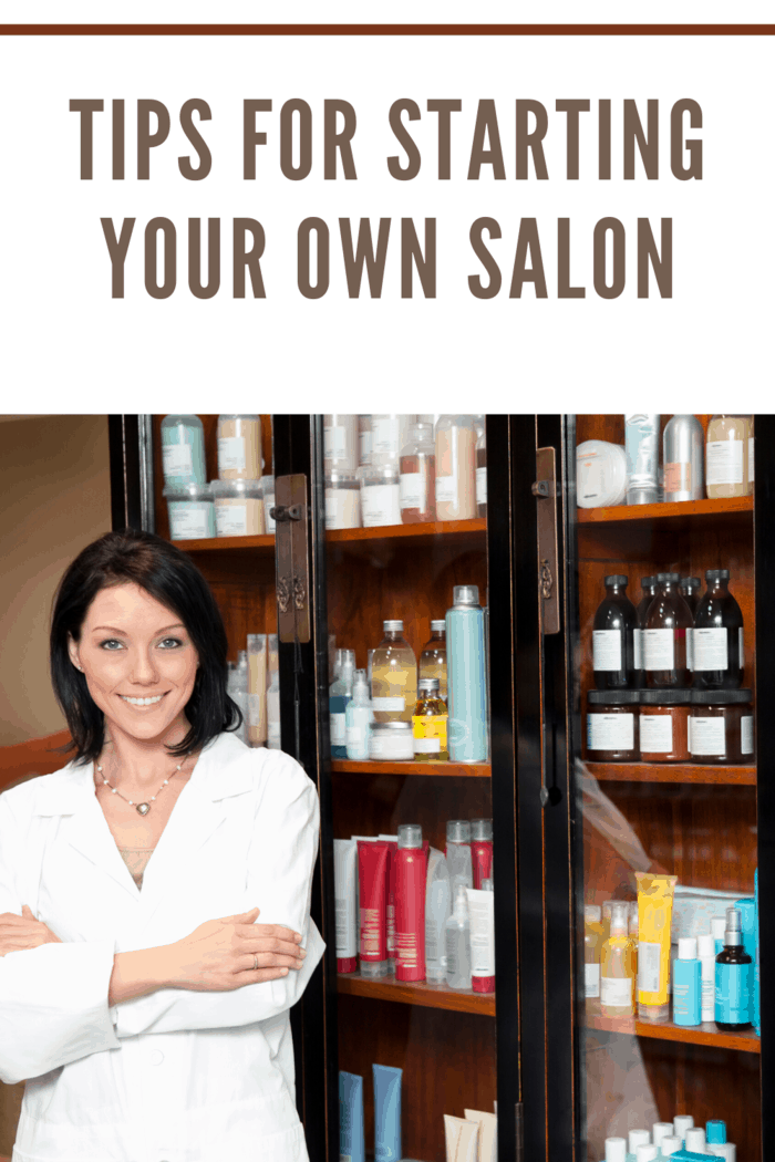 salon owner standing in front of product case