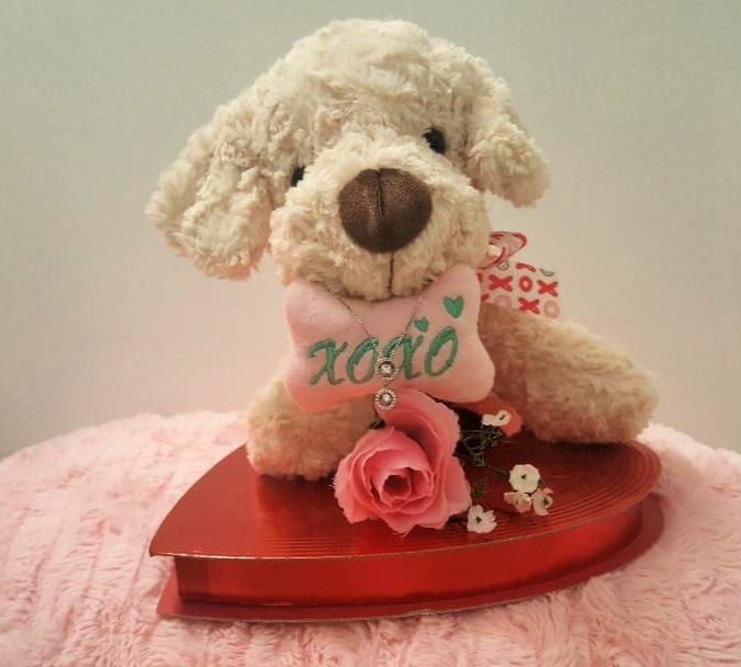 dancing diamonds on dog with pink rose and chocolates