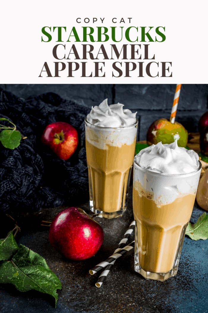 For fans of apple juice and cider, the Starbucks caramel apple spice is unmatched. You can turn this easy recipe into a frappuccino by adding 2 cups of milk and 2 cups of ice. Blend and enjoy on a hot summer day.