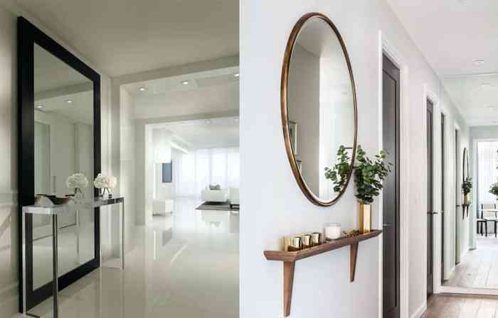 wall mirrors in the hallway as decor