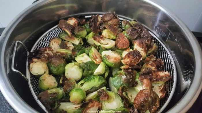 air fried crisp brussells sprouts
