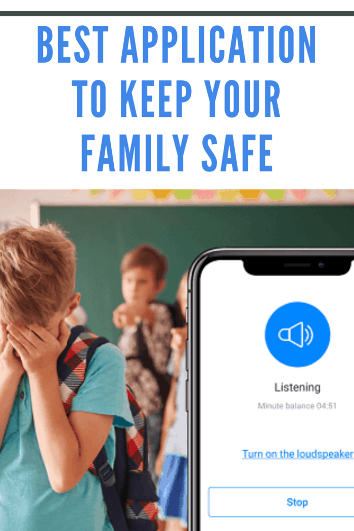 apps that keeps family safe on phone next to child crying being bullied