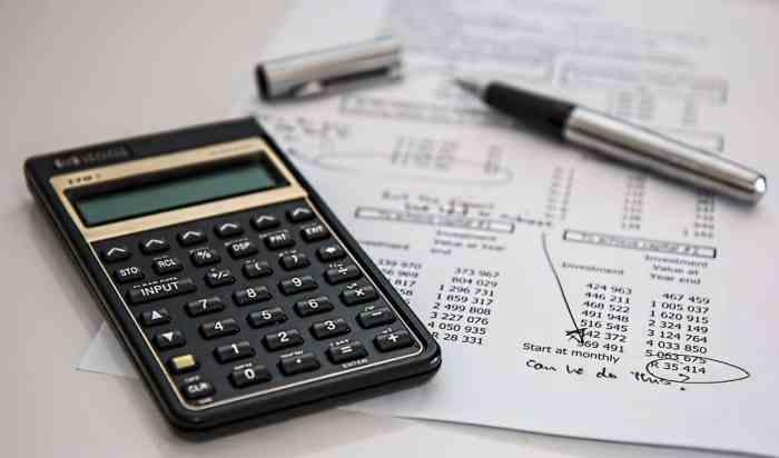 calculator and bills
