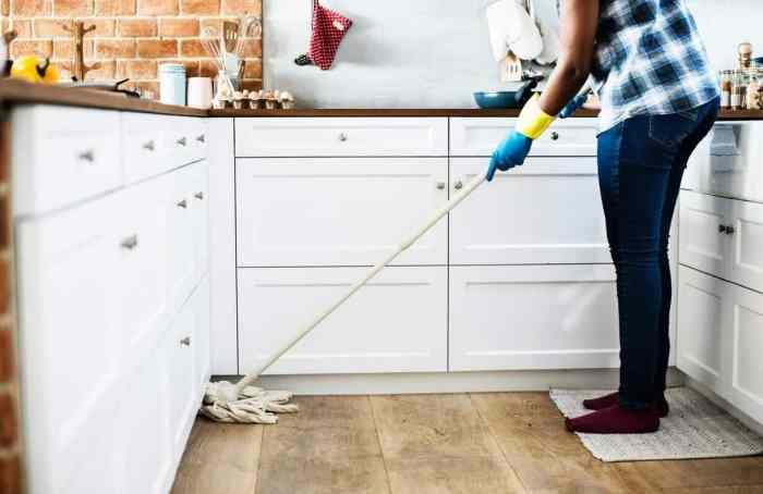 mopping kitchen floor