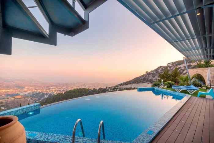 infinity pool overlooking valley