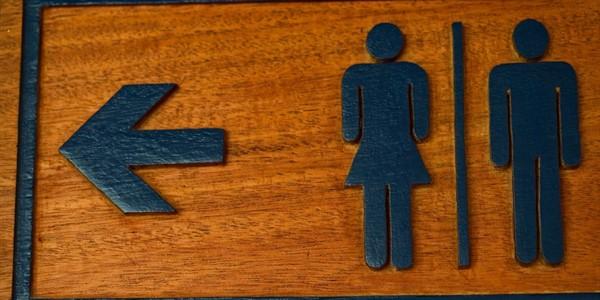 rustic restroom sign