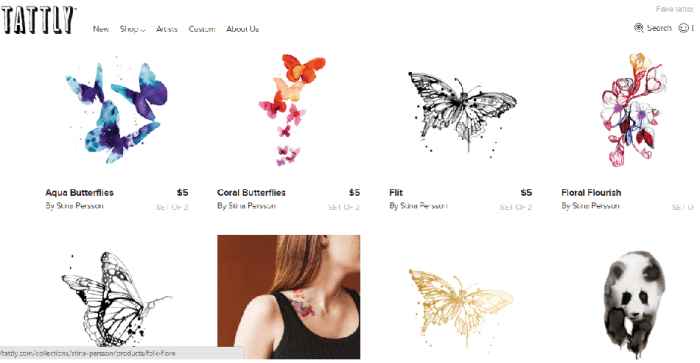 Tattly provides a wide selection of tattoos