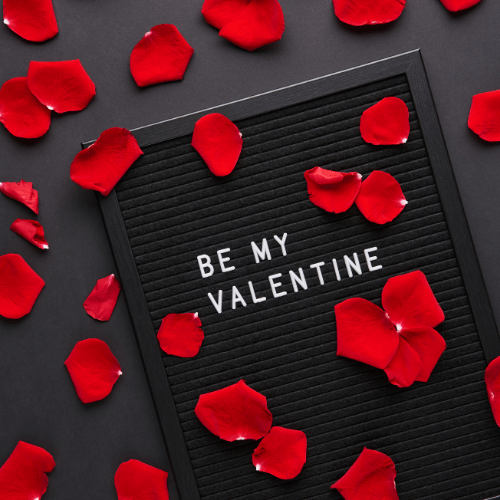 Be my valentine on a letter board with red rose petals