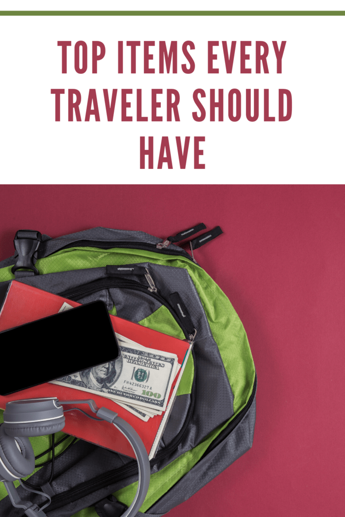 backpack with travel essentials