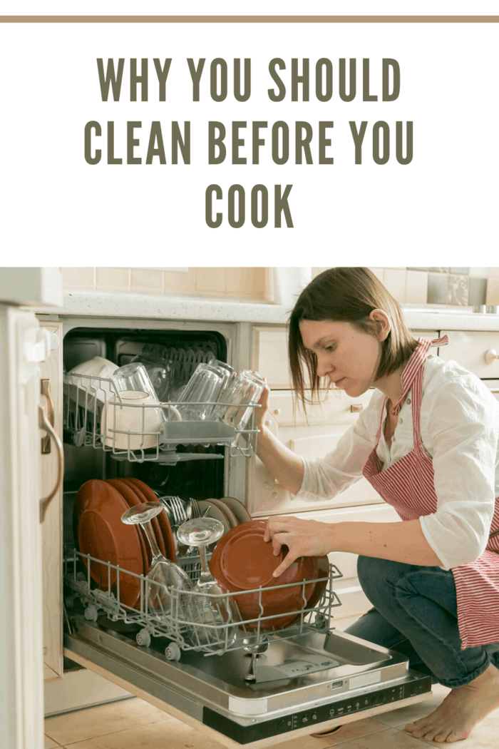 woman cleaning up before cooking