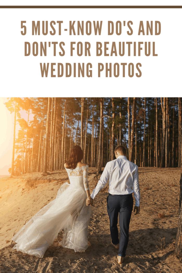 wedding photos of bride and groom walking into woods