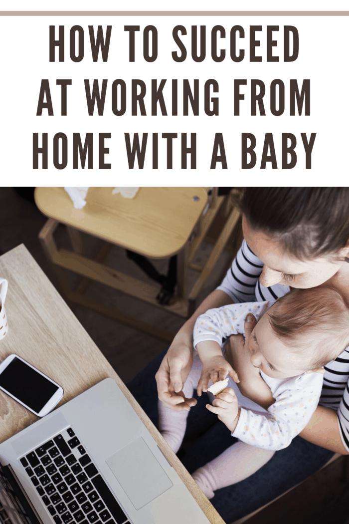 young mom working from home with baby Aerial view