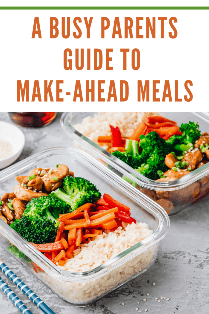 make ahead meals in container showing protein, vegetables and starch
