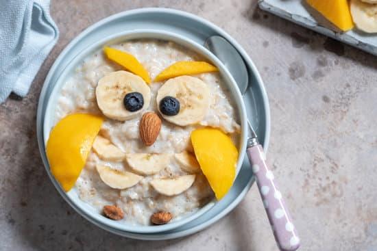 Funny kids breakfast porridge look like owl