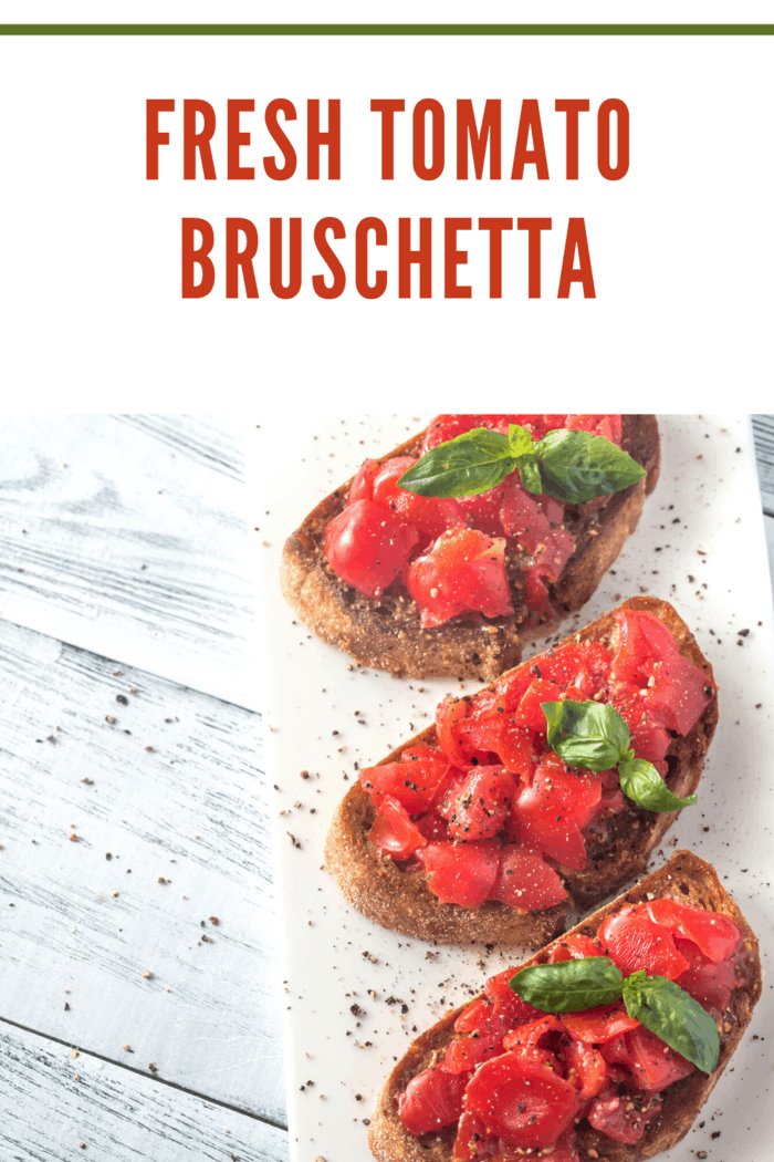 This fresh tomato bruschetta is simple--not just simple to make but filled with simple ingredients like tomatoes, onion, mozzarella cheese, and garlic.