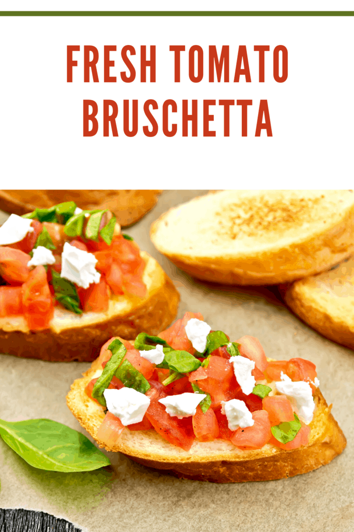 Tomato Bruschetta with mozzarella reminds me of a fancier version of my favorite--slices of tomatoes, on top of slices of mozzarella cheese with basil leaves in between.
