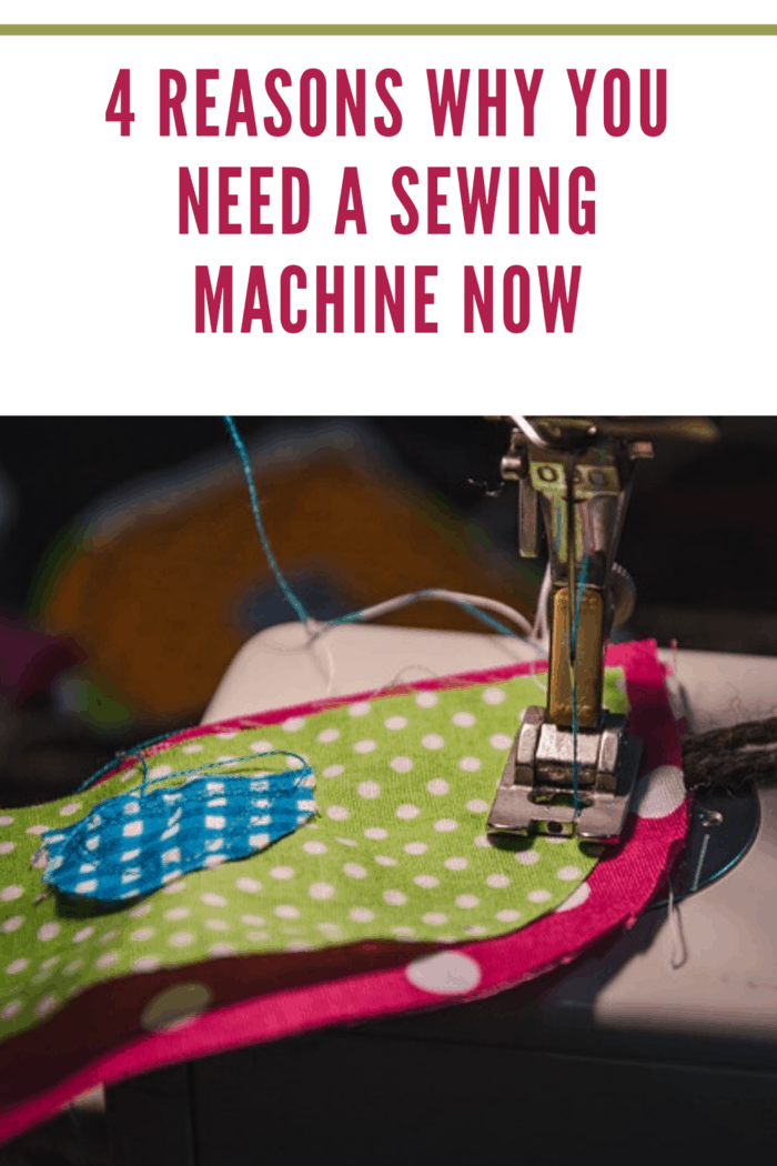 sewing machine foot on layered hot pink, lime green and royal blue polka dot fabric sewing