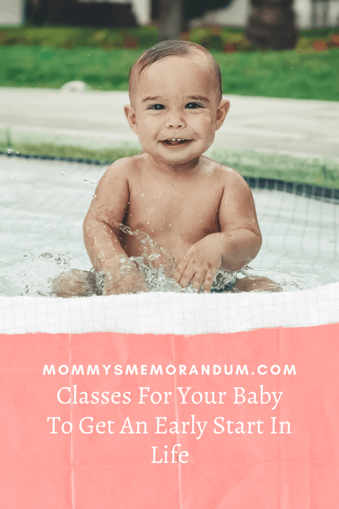 little boy baby in swimming pool for baby swimming classes