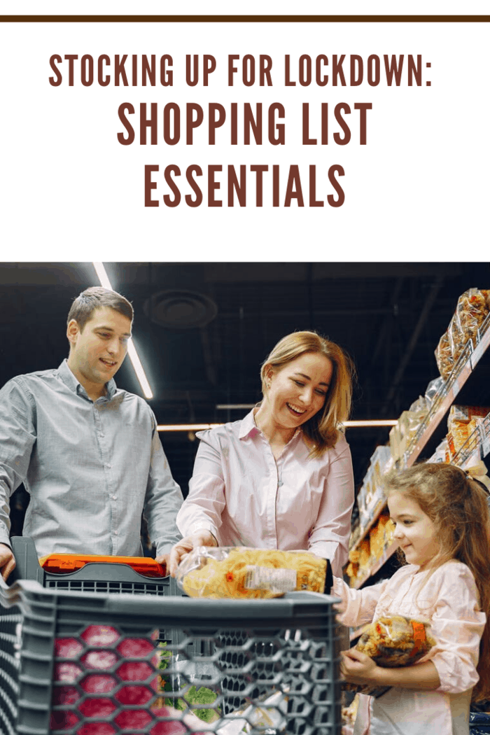 mother, father and daughter shopping with shopping list essentials
