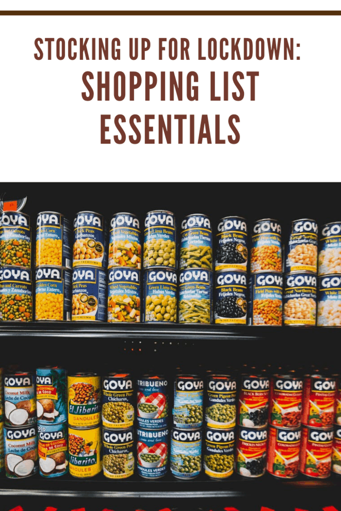 goya canned goods on a grocery shelf ans a shopping list essential