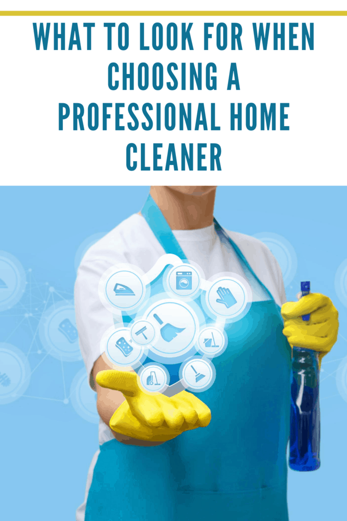 professional home cleaning service woman with spray bottle and small icons in hand representing cleaning tasks she does