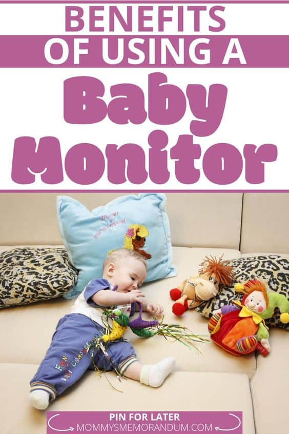 baby resting with stuffed animals and baby monitor
