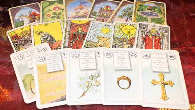 deck of tarot cards spread out